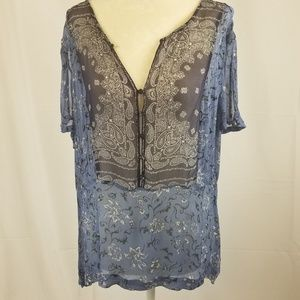 Lucky Brand sheer blouse with paisley print